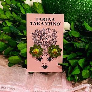 NEW Tarina Tarantino Green Crystal Flower Earrings